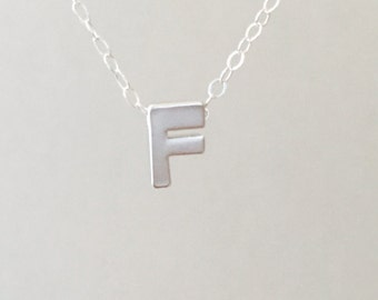 Small Letter F Necklace, Silver Initial Necklace, Dainty Necklace, Personalized Necklace, Initial F Charm, Tiny Initial Pendant