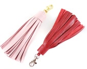 Large Leather Tassel | Handbag Accessory | Fringe | Cowhide Leather | Keychain | Keyfob | Handmade
