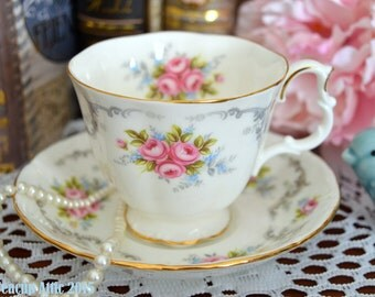 ON SALE Royal Albert Tranquility Teacup and Saucer Set, English Bone China Tea Cup Set, Wedding Gift, ca. 1969-2001