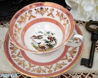 Royal Grafton Birds Of Paradise Teacup and Saucer Set, Pink English Bone China Teacup Duo, Wedding Gift, ca. 1957-