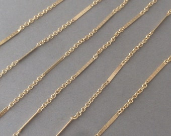 Gold Fill Layering Bar Chain Necklace