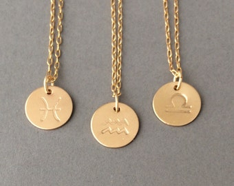 Gold Fill Zodiac Sign Disc Necklace also in Rose Gold and Silver