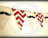 Mustache Banner- Party Banner-Mustache Bunting-Red Chevron-Little Man Party-Mustache Party-Baby Shower banner-Gender Reveal-Birthday prop