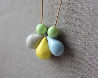 Handmade ceramic drop beads - blue, yellow, gray and green pendant necklace
