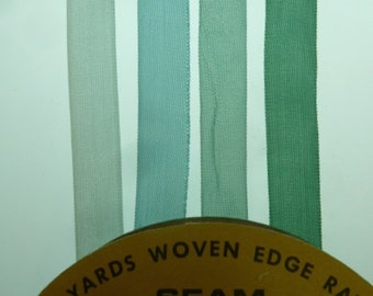 """8 yards of rayon made in the usa HUG SNUG woven edge seam binding in """" frost on pines """". 1/2 inch wide ."""