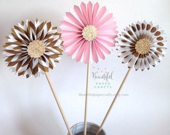CLEARANCE!! Pink and Gold Rosette Wands    Pink and Gold Party    Paper Fans     Pink and Gold Birthday    Pink and Gold Paper Rosettes