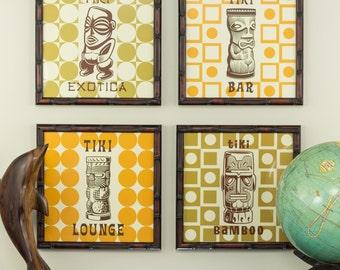 The Tiki Collection, 10x10 Retro Wall Art in Bamboo Frames (2471010ART14A)