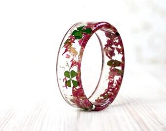 Clover Flower Bracelet - Epoxy resin bracelet - Real flower Bracelet