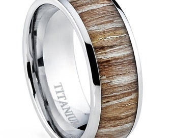 Titanium Ring Wedding Band, with Real Ashen Zebra Rose Wood Inlay Comfort Fit 8mm