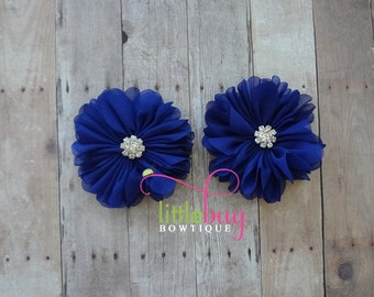 Royal Blue Chiffon Flowers with Rhinestone Buttons Piggy Hair Bow Clips For Newborns, Girls, Toddlers, Babies, Teens