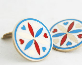 Earrings- Circular Heart Compass Red Blue Gold Spring Disk clip-on