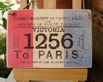 French shabby chic, vintage travel ticket image on wooden tag to hang on dresser or door knob