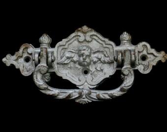 Antique Victorian Angel Cherub Casket Handle, Coffin Plaque, Love Token, Gothic Door Knocker, Silver Drawer Pull, Up-cycle, Goth Home Decor