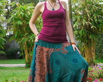 Thai  Pants in Cotton, blue & blow Ochre Circles painting Print
