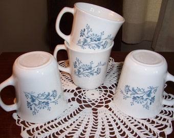 Corning Colonial Mist Coffee Cups...Set of 4..1980's Milkglass Microwave Coffee Mugs....Blue Flowers on White Milkglass...