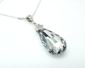 Clear White Teardrop Cubic Zirconia Necklace Bridesmaid Gift Wedding Necklace Bridal Necklace Bridesmaids Necklace  Crystal Swarovski