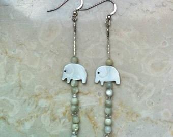 Long thin summer mother of pearls beads earrings , crystal swarovski , elephant white shell beads, sterling silver .925 hooks - handmade