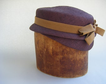 Vintage Designer Straw Hat Philippe Model Burgundy Tan Fashion Paris Couture Summer Millinery
