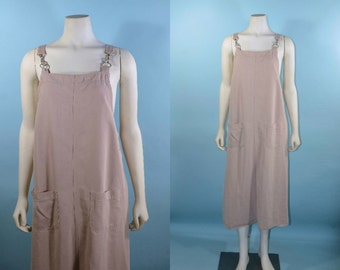Vintage Taupe Minimalist Overalls Dress/ One Piece Jumper + Braces Shoulder Straps + Suspenders/Festival Concert Fair Brooklyn Flea S