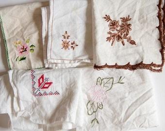 Vintage embroidered Handkerchiefs - 5 damaged pieces