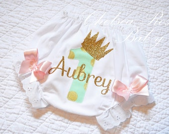 Pink Mint and Gold Birthday Baby Bloomers, Cake Smash Bloomers, Baby Girl, Gold Crown Birthday, Princess, Baby First Birthday, Gold Birthday