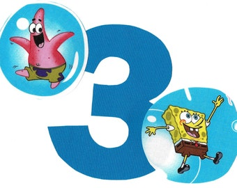 DIY Spongebob and Patrick applique and pick any number iron on applique