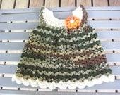 Camo,Crocheted,Dress,Girls,Baby,Infant,Gift,Photo Prop,Newborn to Three Months