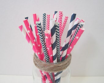 Navy Pink Paper Straws ~ Drinking Straws ~ Nautical Party ~ Baby Shower