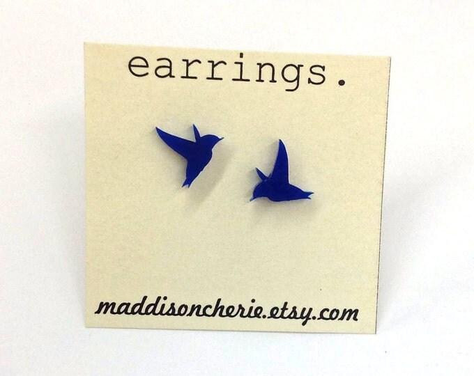 Humming Bird Earrings |  Laser Cut Jewelry | Hypoallergenic Studs
