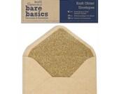 Kraft and Gold Glitter Lined Envelopes for Card Making by Papermania Bare Basics Set of 4 Envelopes