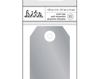 Silver Decorative Cardstock Tags for Scrapbooks, Gifts, Crafts, Etc - Set of 10, 3 x 1 7/8 Inches