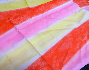 Vintage KIMONO Pink Silk Fabric scrap