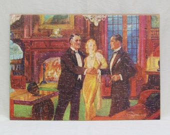 """Vintage rare jigsaw puzzle, 1933 """"Mystery-Jig Puzzle"""", lithographed cardboard puzzle with mystery short story"""