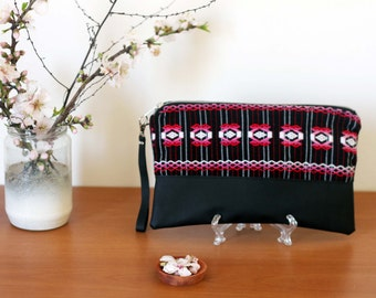 SALE pochette. Guatemalan embroidered fabric and vegan leather clutch, handbag, purse, wristlet, detachable wrist strap. Ready to ship.