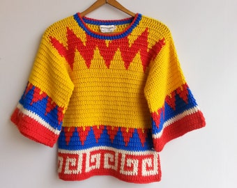 vintage knitted top . hippie sweater . 70s top