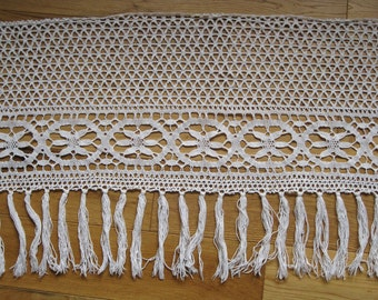 Fringed crochet trim - French hand made bas de rideau curtain trim