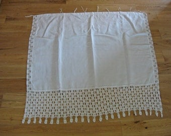 linen and lace curtain panel with unusual crochet lace trim