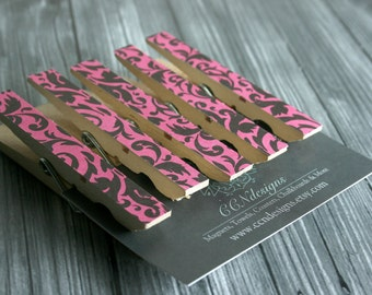 Pink & Black Damask Clothespin Magnets, Set of 5