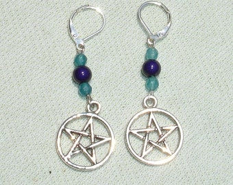 Pentagram Gemstone Earrings with European Leverbacks