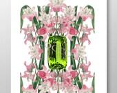 Birth Stone&Flower Print/AUGUST/Peridot/Gladiolus/Mixed media art/Motivational art,illustration/BirthDay gift/Mothers day/art/poster-8x10