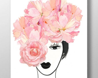 Look through the Flowers 3- Mixed media Decorative art, Flower painting, drawing, illustration, portrait , Mothers day print POSTER 8x10
