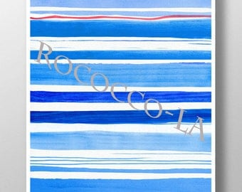 Nautical Stripes - print poster,sea life Mixed media Decorative art painting drawing illustration POSTER - Rococco-LA print