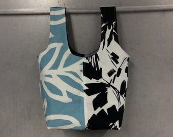 handmade carry-all lunch bag or purse - eco friendly, washable, durable - black blue and white