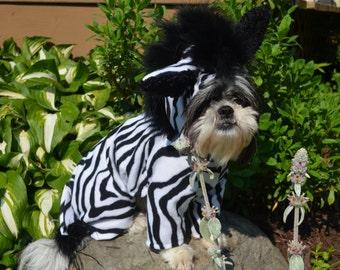Boutique Quality Super Plush Looking Zebra Print Safari Dog Halloween Costume