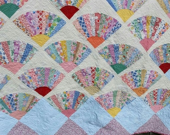 Fan Quilt -  Queen / King Size (Vintage top)