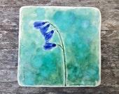 Botanical ceramic tile crackle glaze, Spring flowers