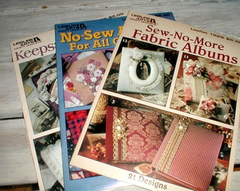 Three Leisure Arts Leaflets *Keepsake*All Occasions*No Sew* Albums Instructions Patterns