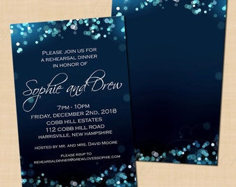 Midnight Blue Night Sky Rehearsal Dinner Invitation (4x6): Text-Editable, Printable, Instant Download