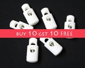 10 Plus 10 Free Cylinder-shaped cord lock white cord spring stopper for belts and lace.