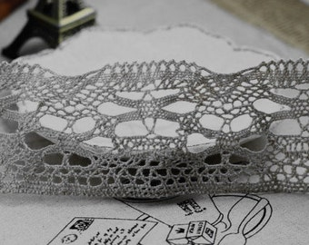 One Yard Lace Trims 54mm Width,Embroidery Crochet,Light Gray Color,Bridal,Scalloped,Cotton(YL66)